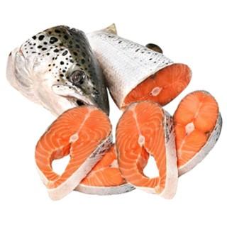 Семга целая рыба нарезанная стейками